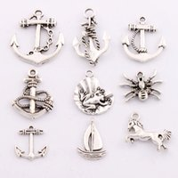 anchor sail - 180Pcs styles Antique Silver Anchor Horse Frog Spider Sailing Boat Spacer Charm Beads Pendants Alloy Handmade Jewelry DIY LM8