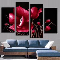 Wholesale Printed Red Flower Pieces No Frame Canvas Oil Painting for Living Room Print Wall Art Picture Fashion Home Decor