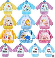 bib apron patterns - Cute Children Bib Cartoon Printed Long Sleeve Baby Bib Infant Waterproof Apron Clothing Pattern for Choose