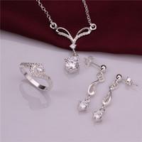 Haute qualité en argent sterling 925 zircon oeil de chat en trois pièces - bijoux blancs DFMSS717C marque nouvelle usine de vente directe de mariage argent 925