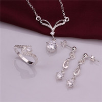 Wholesale High grade sterling silver Cat s Eye zircon three piece White jewelry sets DFMSS717C brand new Factory direct sale wedding silver