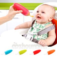 Wholesale 2016 New Hot Boon Brand Squeeze Silicone Baby Spoon Baby Bottle Spoons Feeder Baby Feeding Spoon Without Bpa Color