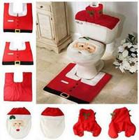 Wholesale 2016 Hot Fancy Santa Toilet Seat Cover and Rug Bathroom Set Contour Rug Christmas Decorations For Natal Navidad Decoracion