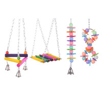 Wholesale Bird parrot colorful wood stand climbing ladder toy parrot swing toys parrot supplies new arrival types pieces
