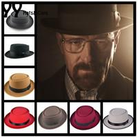 Wholesale New Wool Felt Pork Pie Crushable Men Hat BREAKING BAD Hat Walter for Women Trilby Men Wool Fedora Cap Chapeu Colors