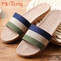 Wholesale Anti slip Linen Slipper Summer Striped Flaxen Women Men Hotel Indoor Home Shoes Straw Ladies Flat Flax Slippers Mujer Zapatos