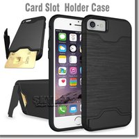 plastic card holder - For Iphone Plus Rugged Brush Case Card Slot And Holder Kickstand Case PC And TPU Case For Iphone S Samsung Note OnePlus OPP Package