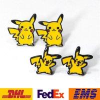 anime earrings men - DHL Poke Pikachu Stud Earrings Unisex Cartoon Action Anime Figure Alloy Earrings Women Men Cute Style Jewelry Gifts WX S07