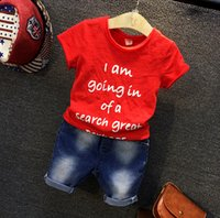 Wholesale 2 Kids Boys Children Child Baby Summer Spring Jeans Set Sport Style Male Clothes Short Sleeve Shirt Jeans Boys Clothes Sets A