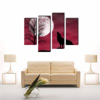 Four-picture Combination background pictures animals - 4 Pieces a Wolf In A Dark Night With Moon Red Background Print Canvas Picture Animal For Home Modern Decor With Wooden Framed