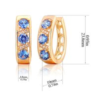 accents and gifts - Gorgeous Yellow Gold Plated Three Round Blue CZ and White CZ Accent Hollow U Hie Hoop Earrings Jewelry for Women bijoux Aros