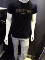 Wholesale Balmain Pairs Summer tee Fashion Balmain Top White Black short sleeve tshirts man Skinny fit tshirts