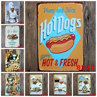 antique dog paintings - hot new cm hot dogs always hot fresh kitchen chief Tin Sign Coffee Shop Bar Restaurant Wall Art decoration Bar Metal Painting