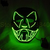 Wholesale Halloween Funny light up glowing EL wire Vendetta mask Fashion V Cosplay MASK Costume Guy Fawkes Anonymous mask for party masks