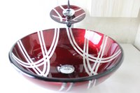 Wholesale Modern Round Toughened Glass Hand Wash Basin Hand painted Art Basin Wash Basin Sink Basin Basin Chrome plated Faucet Set N
