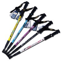 Wholesale DHL Trekking Poles Adjustable Retractable Anti Shock Durable Aluminum Hiking Sticks for Outdoor Walking Trekking Climbing Piece
