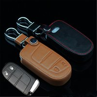 Wholesale Car Genuine Leather Remote Control Car Keychain Key Cover Case For Jeep Buttons Smart Key L227