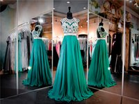 Wholesale Emerald Chiffon Prom Dress High Beaded Neckline Keyhole Back A line Evening Dress Long Crystals Pageant Dresses