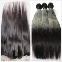 Wholesale bundles with lace frontal human hair weaves with closure three part straight Brazilian hair natural color