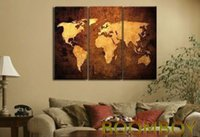 Cheap World Map Modern Hand Painted Wall DECOR Oil Painting on Canvas(no framed)