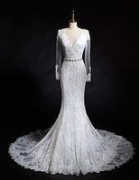 Wholesale Trumpet Mermaid Long Sleeves Wedding Dress Ivory Chapel Train V neck Lace babyonline