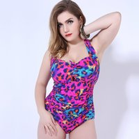 Wholesale 2016 Womens Plus Size Swimwear Quiet Sports Padded Top Bikini Flower Floral Halter Shirred Backless Bathing Suits One Piece Swimsuit