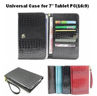 Wholesale 1pcs Fashion inch Universal Handbag Croc grain PU Leather Portfolio Case for quot Tablet PC With Card Slots
