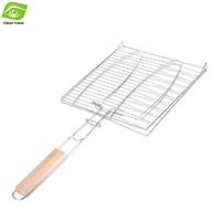 bbq fish grill basket - Portable BBQ Barbecue Fish Grilling Basket Roast Folding Tool with Wooden Handle