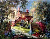 arts hideaway - art Oil paintings Honeymoon Hideaway Thomas Kinkade canvas reproduction Handmade High quality