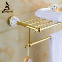 Wholesale New arrival Towel Racks Luxury Bathroom Accesserries High Quality Golden Finish Bath Towel Shelves Towel Bar bath hardware