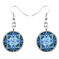 Wholesale Women Elegant Fashion Jewelry Accessory Pretty Flower Mandala OM Religion Zen Buddhism Symbol Crystal Pendant Hook Earrings