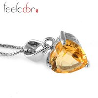 Cheap Solid 925 Sterling Silver Yellow Citrine Pendants For Women Natural stone Engagement Jewelry Heart Romance Design Fashion 8x8mm