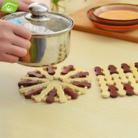 bamboo dish mat - 4pcs Bamboo Coasters Waterproof And Insulation Tablemat For Pot Cup Dish Round And Square Placemat Bamboo Cup Mat
