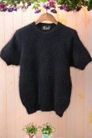 angora wool for knitting - 2016 women black knitted crewneck short sleeve outwear tops upper pullover fluffy angora sweaters rabbit fur mink cashmere sweater for women