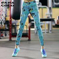 Wholesale Women High Waist Print Yoga Pants Workout Fitness Tights for Women High Quality Yoga Sport Leggings Female Running Pants