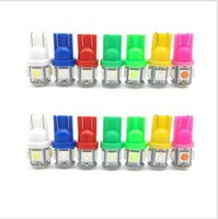 Wholesale 100pcs T10 V Colorful SMD LED W5W Car Side Wedge Tail Light Lamp License Plate Bulb Red Blue White Green pink car lights