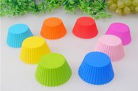 Wholesale 7cm Round shape Silicone Muffin Cases Cake Cupcake Liner Baking Mold multiple colors jelly baking mold cup cupcake sale