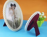 Wholesale polyresin white photo frame with pearl inch