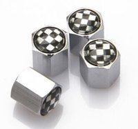 Wholesale Car Styling Silver And Black General Style Car Wheel Tire Valve Cap For f1 Flag Car Logo For Your Option