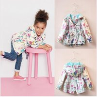 animal print raincoat - Children Girls Jackets hooded Cartoon Printing Trench Outerwear Kids coat Baby clothing Kd Y Raincoat Spring Outwear Brand
