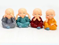 art shaolin kung fu - 4PCS SET Four little monks of shaolin kung fu kid car home accessories furnishing articles resin Creative gifts HY1169