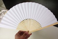 antique handheld fans - Chinese Paper Folding Fan Handheld Fan white color Children s Painting painted fan Kindergarten creative diy handmade material paper fans
