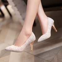 Wholesale New Fashion Wedding Shoes Sparkly Silver Rhinestone High Heels Women s Shoe Wedding Bridal Shoes Bridal Shoes Evening Party Shoes