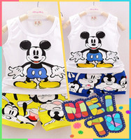 Wholesale Sleeveless For Summer Cartoon - Summer Minnie Mouse Sets For Baby Boys Girls Casual Outfits Clothing Mickey Cartoon children Kids Print T- Shirts+Sport short Pants Trousers