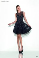 Wholesale See Through Lace Formal Dress - Hot New 2016 See Through Black Lace Crystal Beaded Custom made Formal Knee Length Formal Cocktail Dresses E0301