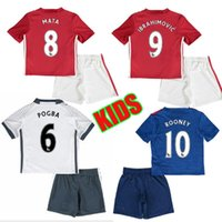 Wholesale best quality MancHester kids tit JERSEY IBRAHIMOVIC Pogba home AWAY BLUE ROONEY MEMPHIS MARTIAL UnITED football SHIRT