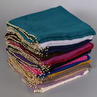 beaded pashmina - New Popular deisgn plain gold pearl Viscose shawls beaded headband muffler hijab fashion wrap autumn long muslim scarves scarf cm