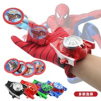 Wholesale Avengers Spiderman gloves wrist transmitter toys Batman Iron Man Hulk Captain America Spiderman emission gloves gift for children