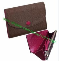 Wholesale Top Grade Lady Brown Canvas Real leather ROSALIE COIN PURSE wallet Pink Women Short Coin Flap Wallet