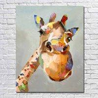 Girafe haute Avis-Vente en gros de peintures à l'huile Haute qualité Jolie image de girafe Base d'huile sur toile Décoration à domicile Art mural ou comme cadeau